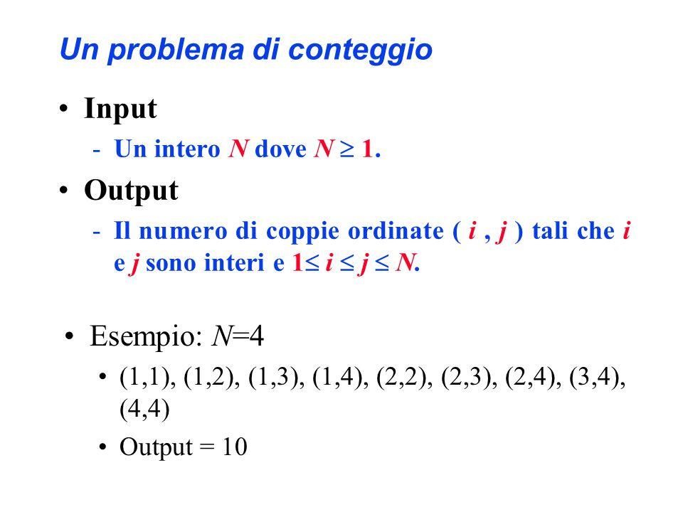 Un problema di conteggio Input -Un intero N dove N 1. Output -Il numero di coppie ordinate ( i, j ) tali che i e j sono interi e 1 i j N. Esempio: N=4