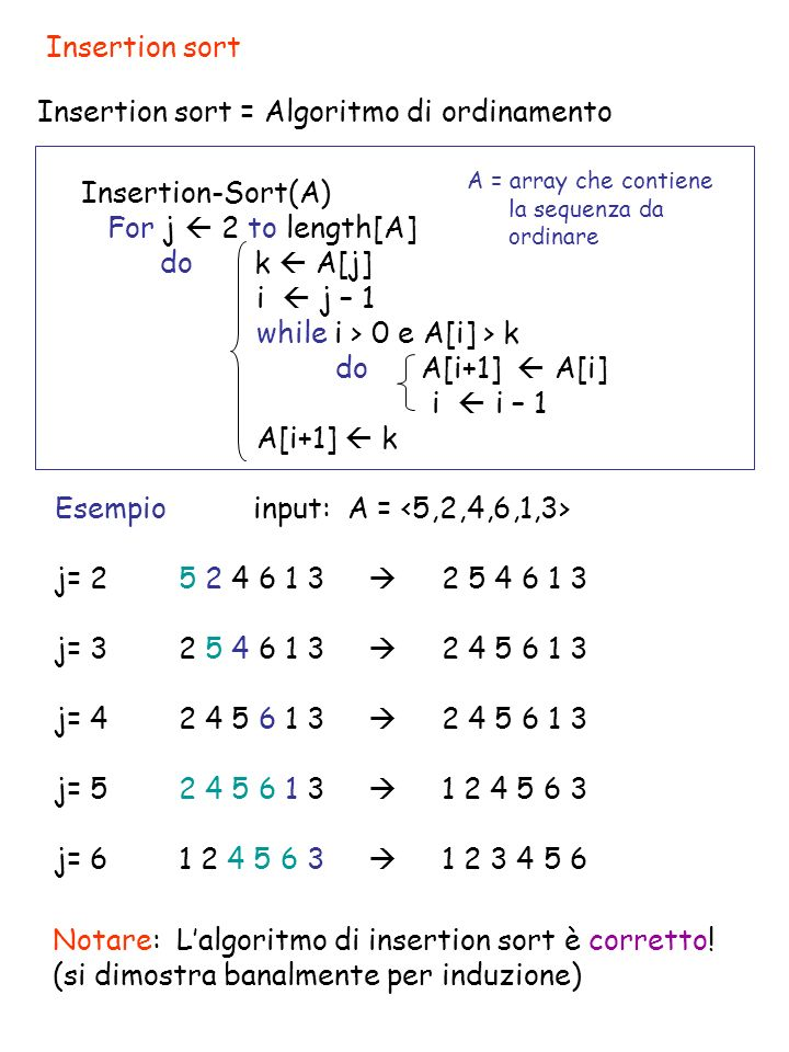 Insertion-Sort(A) For j 2 to length[A] do k A[j] i j – 1 while i > 0 e A[i] > k do A[i+1] A[i] i i – 1 A[i+1] k Analisi di Insertion sort Costo N.volte c1 n- 1 c2 n -1 c3 n -1 c4 c5 c6 c7 n -1 t j = numero di volte che, per un fissato j, viene eseguito il test del ciclo while (dipende dall input).