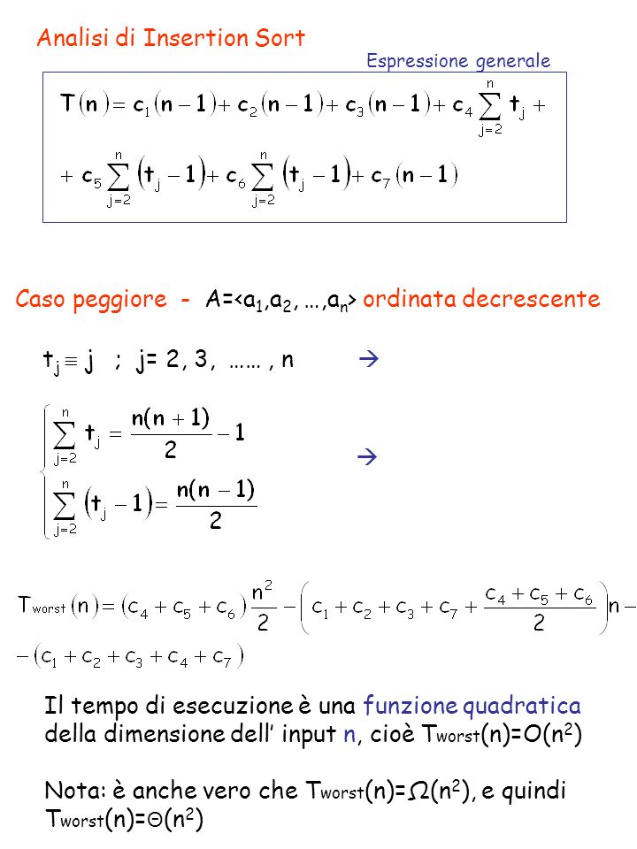 Analisi di Insertion Sort Espressione generale Caso peggiore - A= ordinata decrescente t j j ; j= 2, 3, ……, n Il tempo di esecuzione è una funzione quadratica della dimensione dell input n, cioè T worst (n)=O(n 2 ) Nota: è anche vero che T worst (n)=Ω(n 2 ), e quindi T worst (n)= Θ (n 2 )