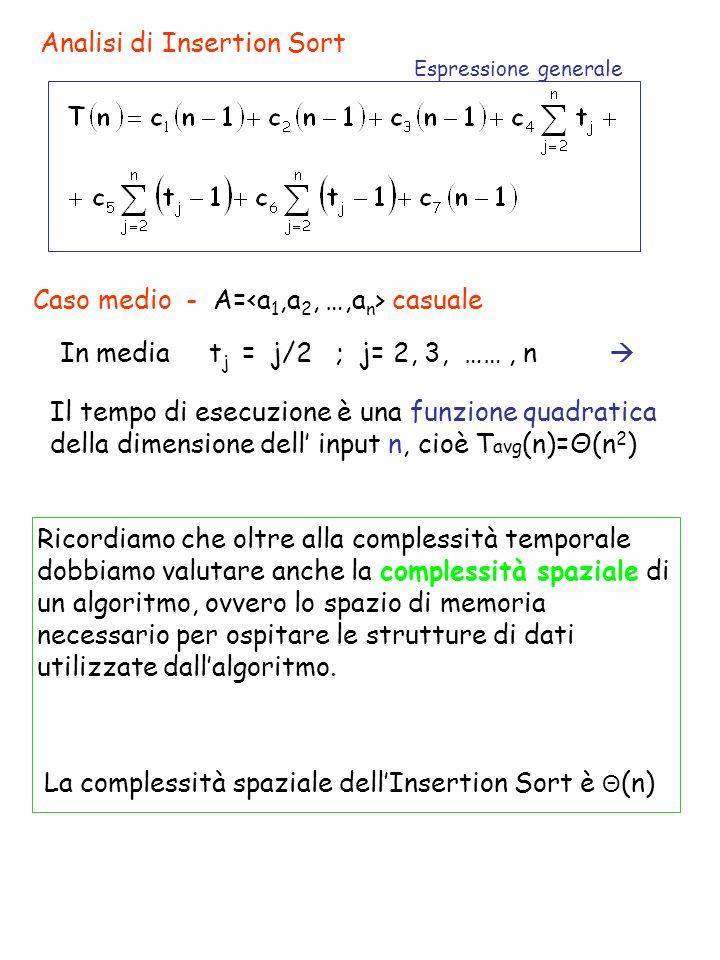 Analisi di Insertion Sort Espressione generale Caso medio - A= casuale In media t j = j/2 ; j= 2, 3, ……, n Il tempo di esecuzione è una funzione quadratica della dimensione dell input n, cioè T avg (n)=Θ(n 2 ) Ricordiamo che oltre alla complessità temporale dobbiamo valutare anche la complessità spaziale di un algoritmo, ovvero lo spazio di memoria necessario per ospitare le strutture di dati utilizzate dallalgoritmo.