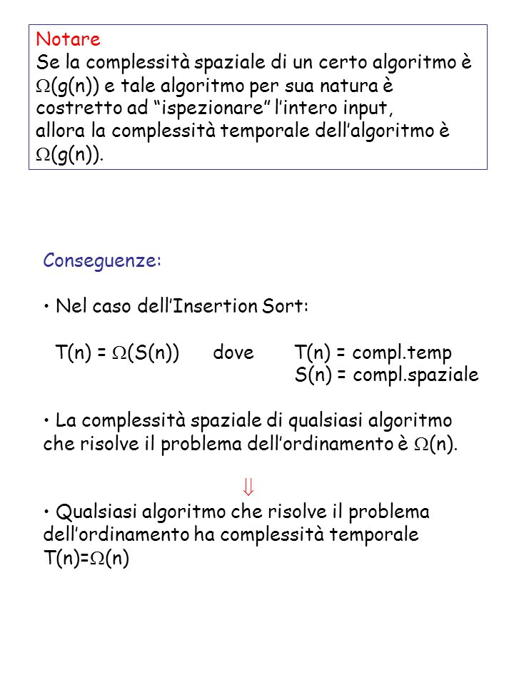 Esercizi di approfondimento Illustrare levoluzione di Insertion-Sort applicata allarray A= Riscrivere la procedura di Insertion-Sort per ordinare in modo non crescente Reverse Insertion-Sort(A) For j 2 to length[A] do k A[j] i j – 1 while i > 0 e A[i] < k do A[i+1] A[i] i i – 1 A[i+1] k