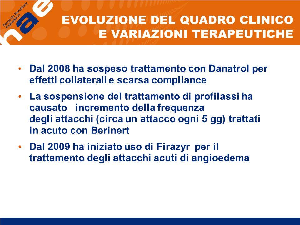 Dal 2008 ha sospeso trattamento con Danatrol per effetti collaterali e scarsa compliance La sospensione del trattamento di profilassi ha causato incre