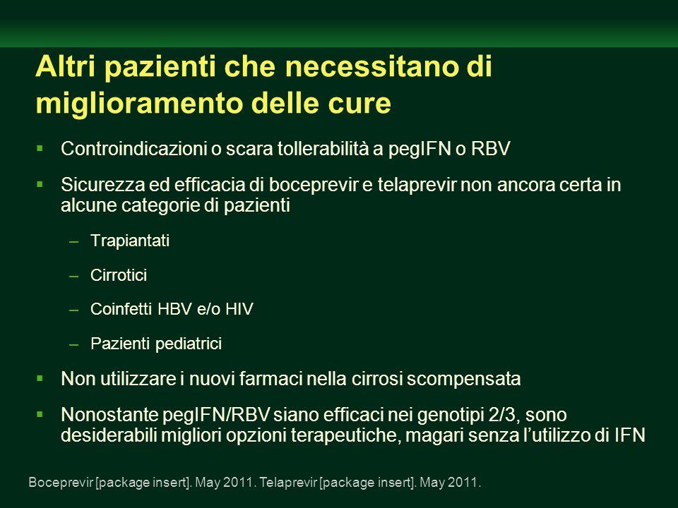 Altri pazienti che necessitano di miglioramento delle cure Controindicazioni o scara tollerabilità a pegIFN o RBV Sicurezza ed efficacia di boceprevir