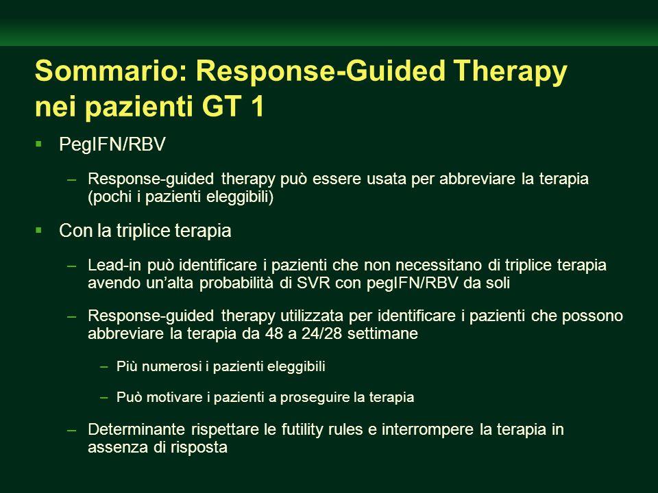Sommario: Response-Guided Therapy nei pazienti GT 1 PegIFN/RBV –Response-guided therapy può essere usata per abbreviare la terapia (pochi i pazienti e