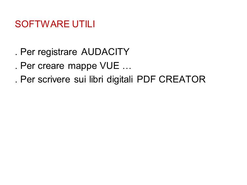 SOFTWARE UTILI. Per registrare AUDACITY. Per creare mappe VUE …. Per scrivere sui libri digitali PDF CREATOR