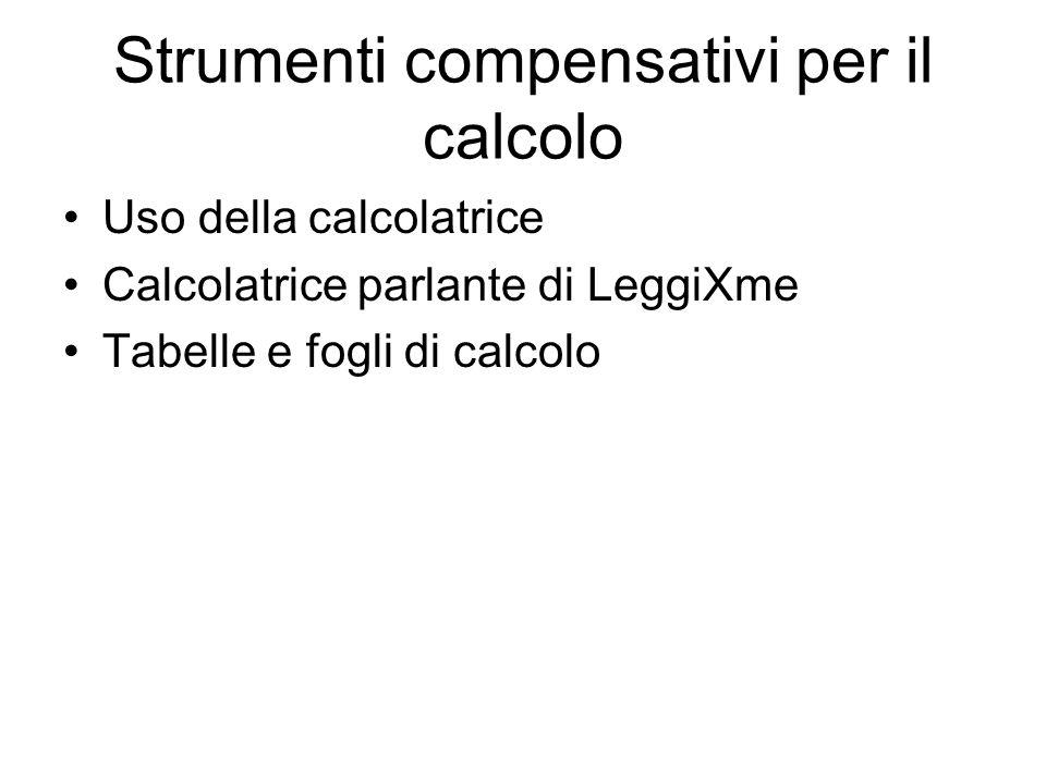 Uso della calcolatrice Calcolatrice parlante di LeggiXme Tabelle e fogli di calcolo Strumenti compensativi per il calcolo