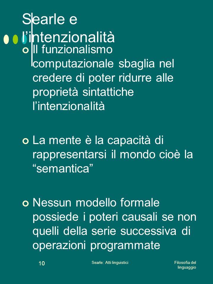 Filosofia del linguaggio Searle: Atti linguistici 9 Searle e lintenzionalità Non si può ridurre lintenzionalità ad altro Lintenzionalità è un fenomeno