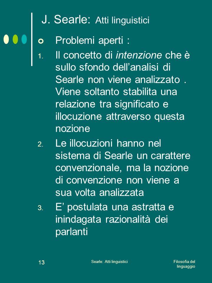 Filosofia del linguaggio Searle: Atti linguistici 12 Critiche a Searle Searle identifica due tipi di funzionalismo (ontololgico e semantico) Non spieg