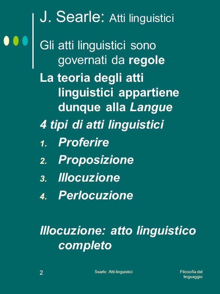 Filosofia del linguaggio Searle: Atti linguistici 1 J. Searle: Atti linguistici Il linguaggio è uno strumento di comunicazione Una teoria del linguagg