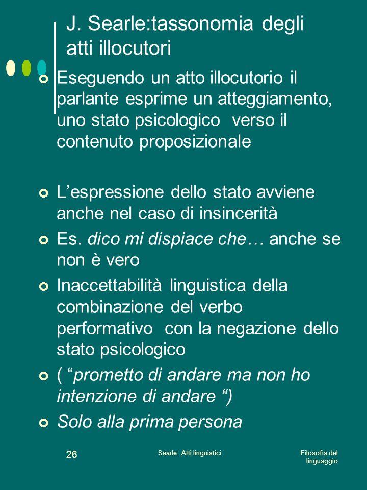 Filosofia del linguaggio Searle: Atti linguistici 25 J. Searle:tassonomia degli atti illocutori 3. differenze relative agli stati psicologici a) Espri