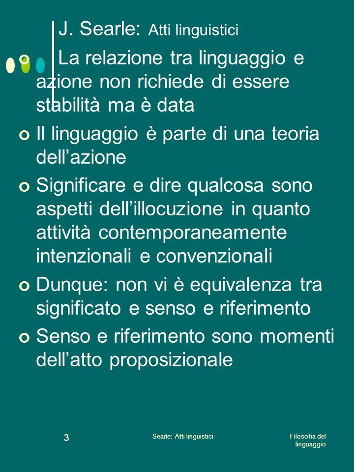 Filosofia del linguaggio Searle: Atti linguistici 2 J. Searle: Atti linguistici Gli atti linguistici sono governati da regole La teoria degli atti lin