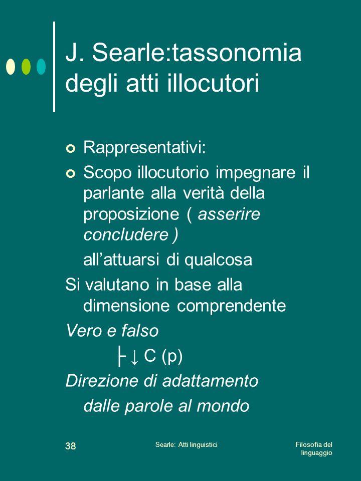 Filosofia del linguaggio Searle: Atti linguistici 37 J. Searle:tassonomia degli atti illocutori Verdettivi Esercitivi Commissi vi Comporta tivi Esposi