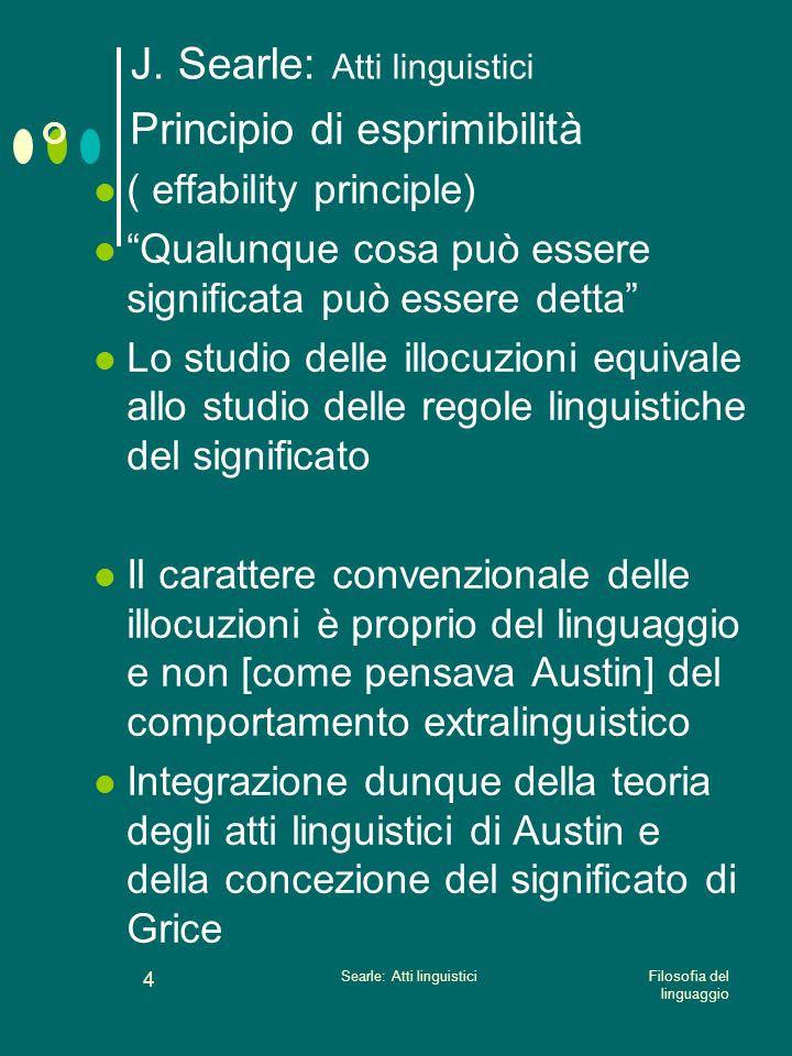 Filosofia del linguaggio Searle: Atti linguistici 3 J. Searle: Atti linguistici La relazione tra linguaggio e azione non richiede di essere stabilità