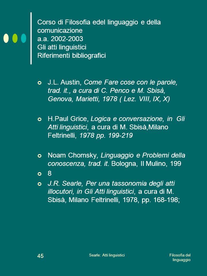 Filosofia del linguaggio Searle: Atti linguistici 44 Searle:tassonomia degli atti illocutori Non vi è un numero infinito o indefinito di giochi lingui