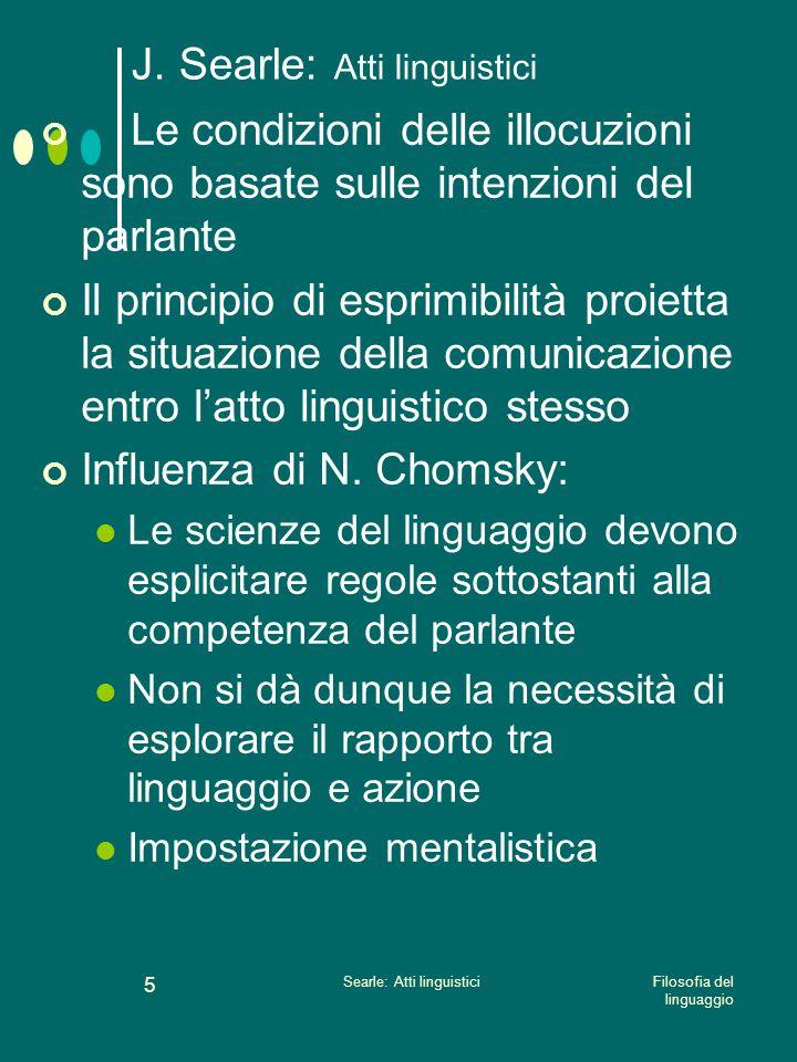 Filosofia del linguaggio Searle: Atti linguistici 4 J. Searle: Atti linguistici Principio di esprimibilità ( effability principle) Qualunque cosa può