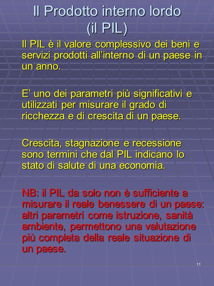 11 Il PIL è il valore complessivo dei beni e servizi prodotti allinterno di un paese in un anno. E uno dei parametri più significativi e utilizzati pe