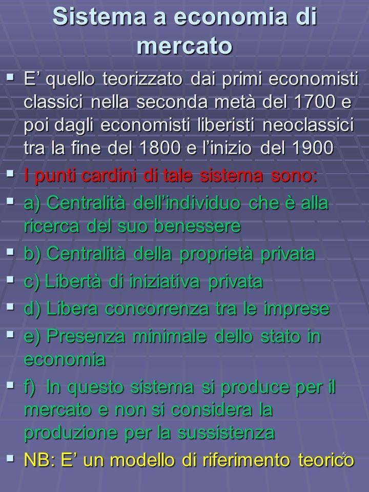 5 Sistema a economia di mercato E quello teorizzato dai primi economisti classici nella seconda metà del 1700 e poi dagli economisti liberisti neoclas