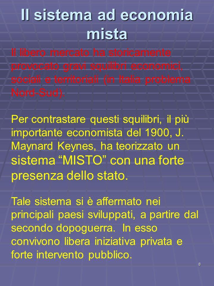 8 Il sistema ad economia mista Il libero mercato ha storicamente provocato gravi squilibri economici, sociali e territoriali (in Italia problema Nord-