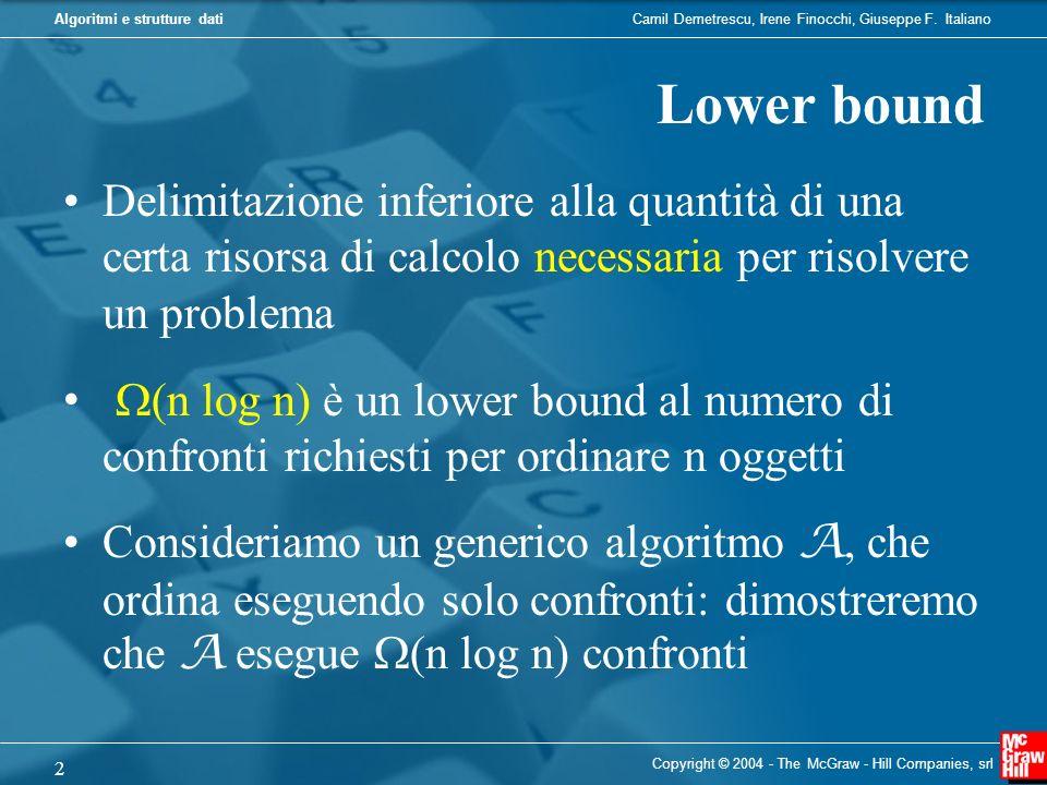 Algoritmi e strutture dati Copyright © 2004 - The McGraw - Hill Companies, srl 2 Delimitazione inferiore alla quantità di una certa risorsa di calcolo necessaria per risolvere un problema (n log n) è un lower bound al numero di confronti richiesti per ordinare n oggetti Consideriamo un generico algoritmo A, che ordina eseguendo solo confronti: dimostreremo che A esegue (n log n) confronti Lower bound