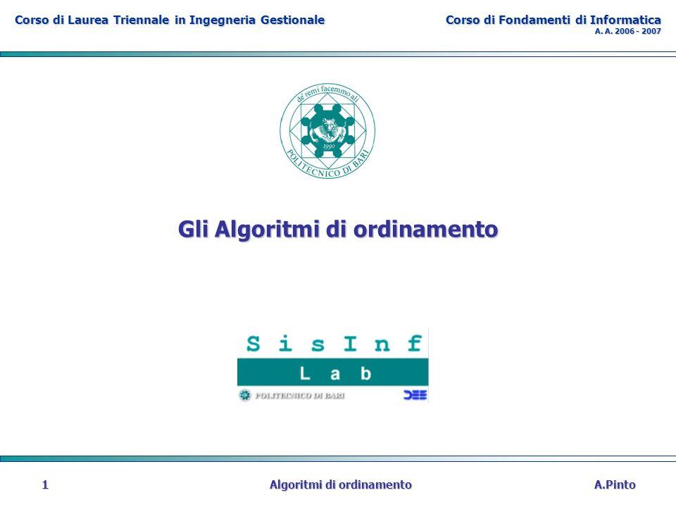 Corso di Laurea Triennale in Ingegneria Gestionale Corso di Fondamenti di Informatica A. A. 2006 - 2007 A.Pinto Algoritmi di ordinamento 1 Gli Algorit