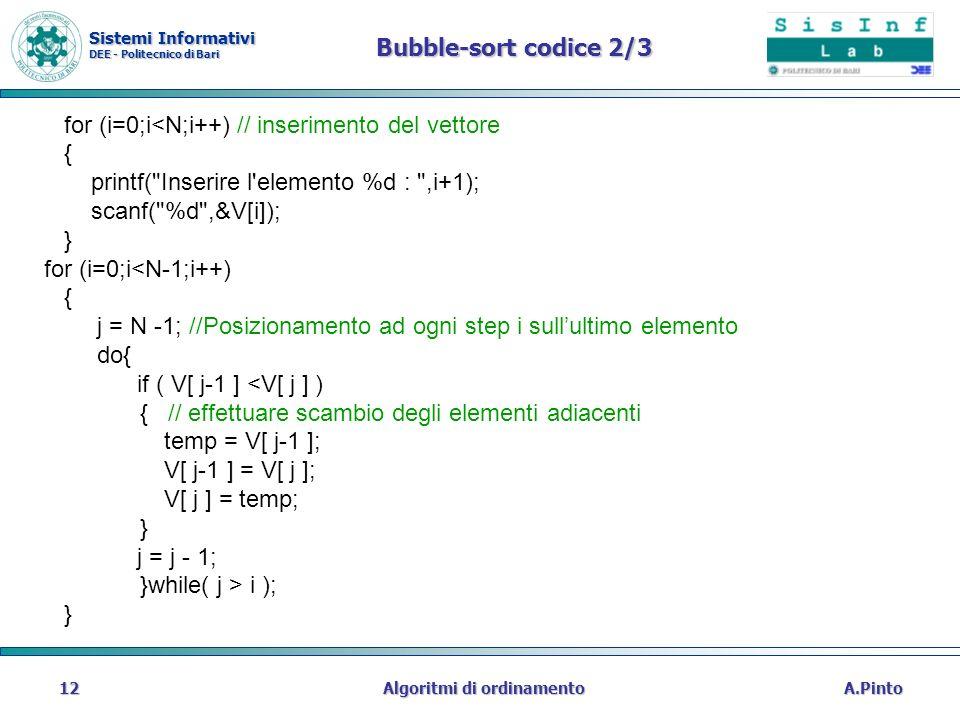 Sistemi Informativi DEE - Politecnico di Bari A.PintoAlgoritmi di ordinamento12 Bubble-sort codice 2/3 for (i=0;i<N;i++) // inserimento del vettore {
