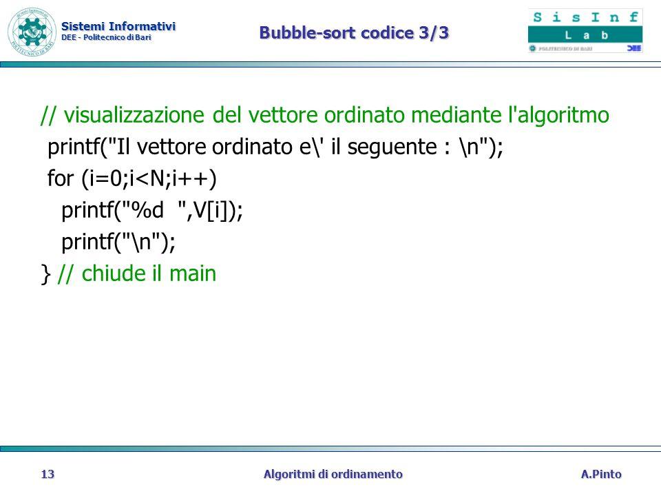 Sistemi Informativi DEE - Politecnico di Bari A.PintoAlgoritmi di ordinamento13 Bubble-sort codice 3/3 // visualizzazione del vettore ordinato mediant