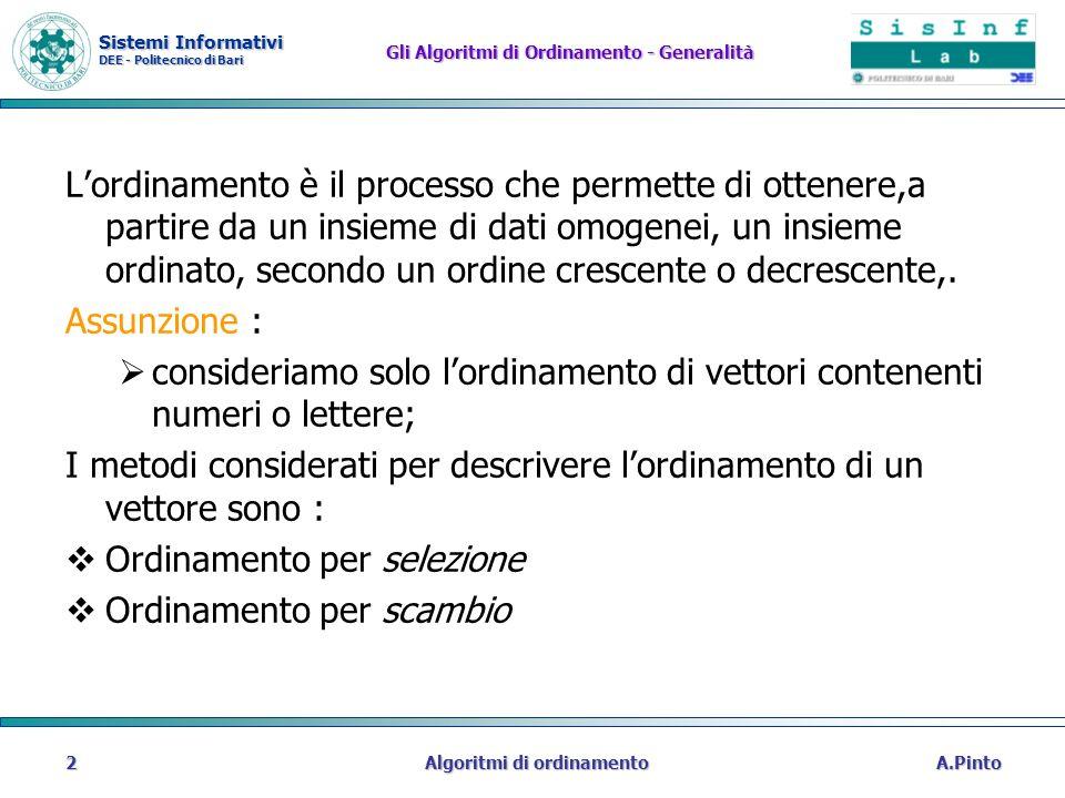 Sistemi Informativi DEE - Politecnico di Bari A.PintoAlgoritmi di ordinamento2 Gli Algoritmi di Ordinamento - Generalità Lordinamento è il processo ch