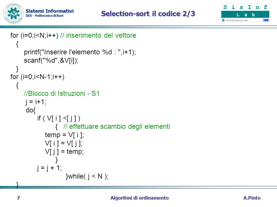 Sistemi Informativi DEE - Politecnico di Bari A.PintoAlgoritmi di ordinamento7 Selection-sort il codice 2/3 for (i=0;i<N;i++) // inserimento del vetto