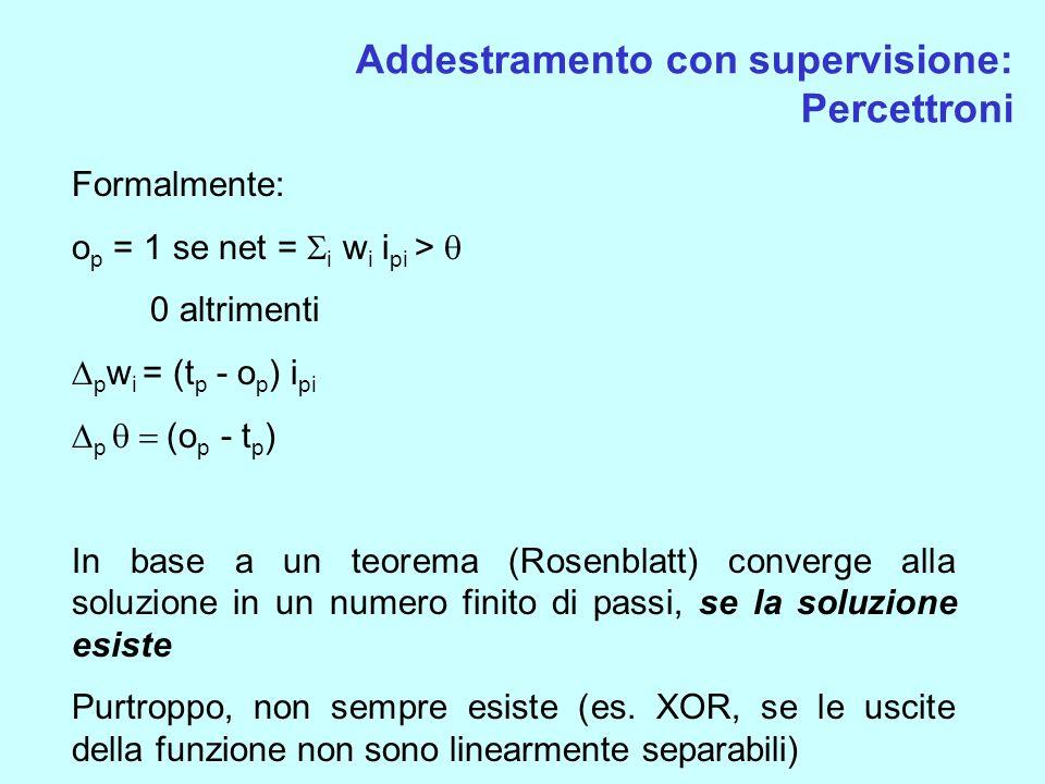 Addestramento con supervisione: Percettroni Formalmente: o p = 1 se net = i w i i pi > 0 altrimenti p w i = (t p - o p ) i pi p (o p - t p ) In base a