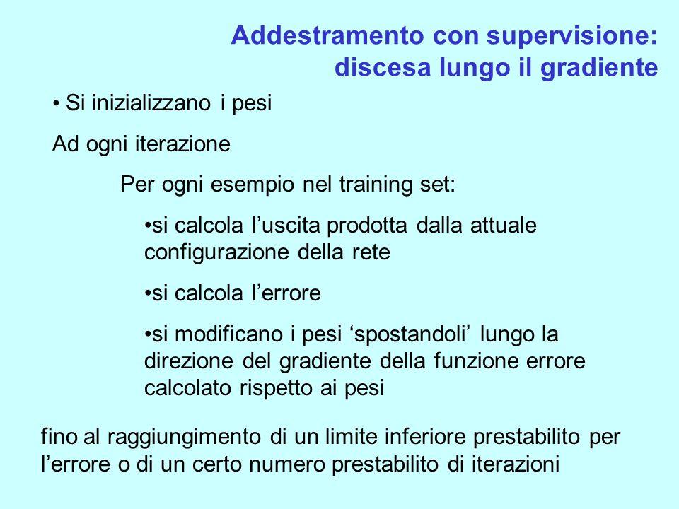 Addestramento con supervisione: discesa lungo il gradiente Si inizializzano i pesi Ad ogni iterazione Per ogni esempio nel training set: si calcola lu