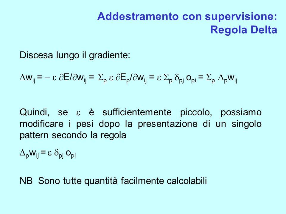 Addestramento con supervisione: Regola Delta Discesa lungo il gradiente: p p p w ij = E/ w ij = p E p / w ij = p pj o pi = p p w ij Quindi, se è suffi