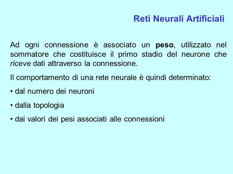 Reti Neurali Artificiali Ad ogni connessione è associato un peso, utilizzato nel sommatore che costituisce il primo stadio del neurone che riceve dati