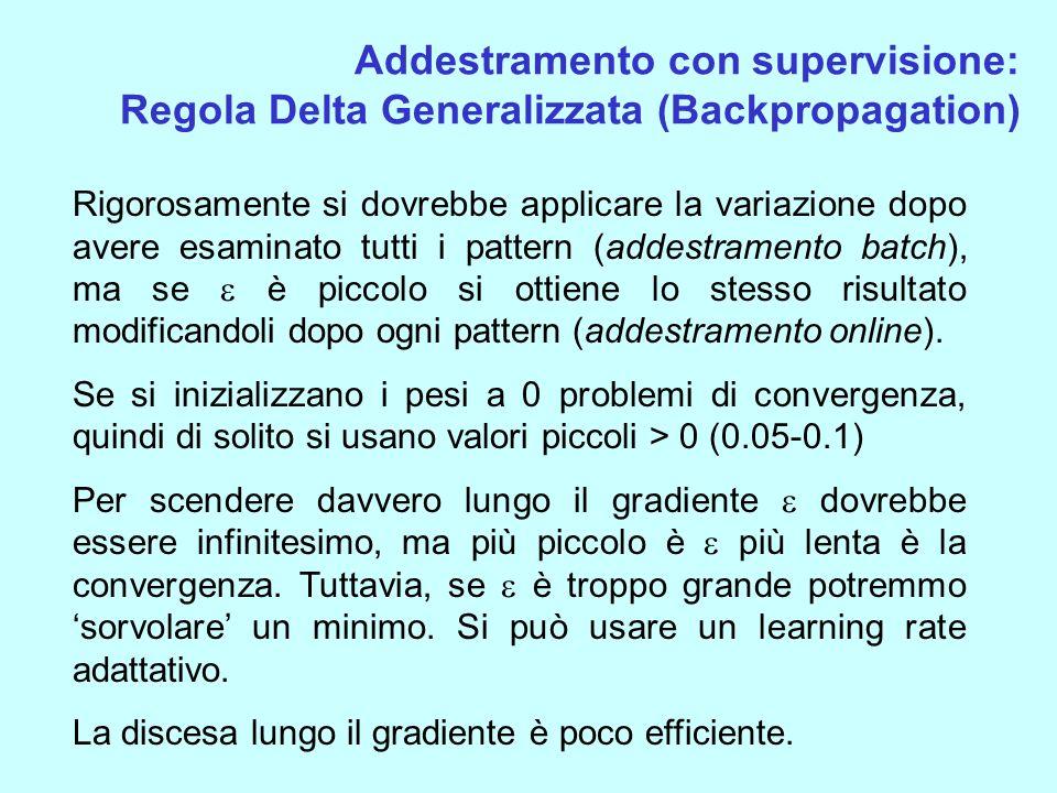 Addestramento con supervisione: Regola Delta Generalizzata (Backpropagation) Rigorosamente si dovrebbe applicare la variazione dopo avere esaminato tu