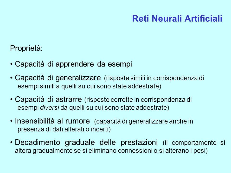 Reti Neurali Artificiali Proprietà: Capacità di apprendere da esempi Capacità di generalizzare (risposte simili in corrispondenza di esempi simili a q