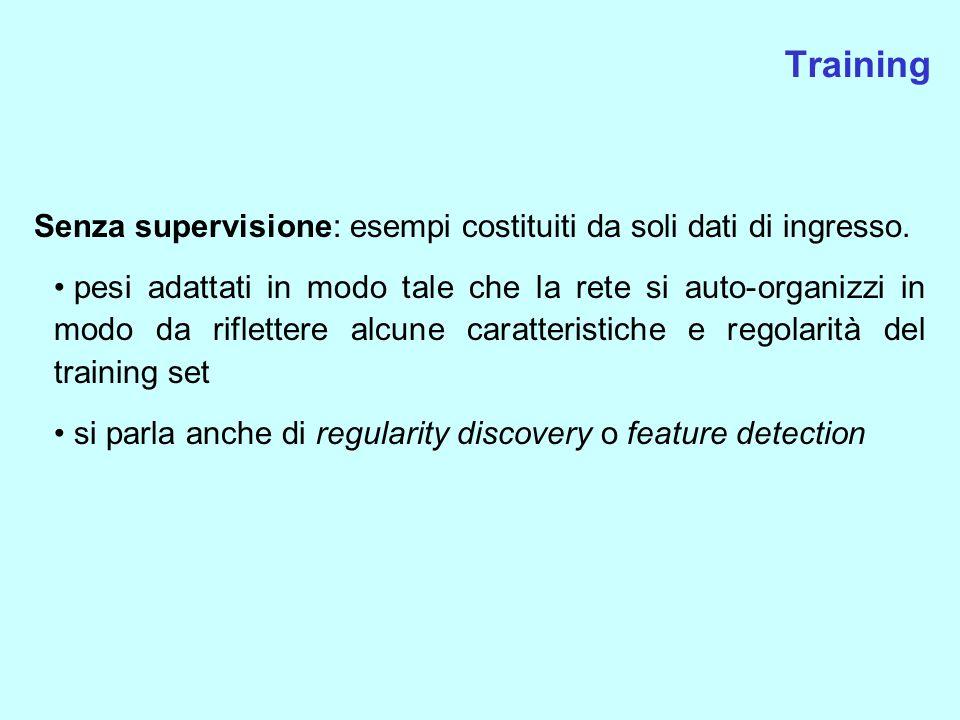 Training Senza supervisione: esempi costituiti da soli dati di ingresso. pesi adattati in modo tale che la rete si auto-organizzi in modo da rifletter