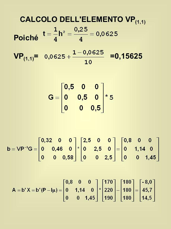 CALCOLO DELL ELEMENTO VP (1,1) Poiché VP (1,1) = =0,15625