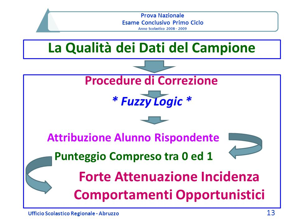 Prova Nazionale Esame Conclusivo Primo Ciclo Anno Scolastico 2008 - 2009 La Qualità dei Dati del Campione Ufficio Scolastico Regionale - Abruzzo 13 Pr