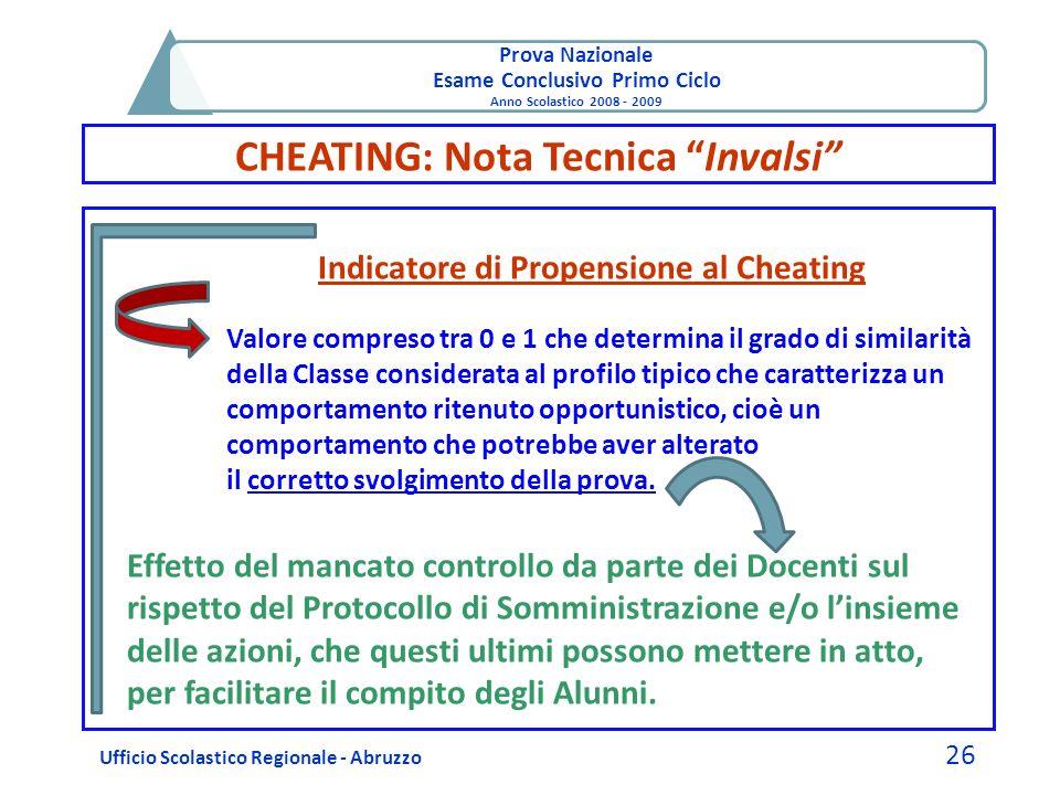 Prova Nazionale Esame Conclusivo Primo Ciclo Anno Scolastico 2008 - 2009 CHEATING: Nota Tecnica Invalsi Ufficio Scolastico Regionale - Abruzzo 26 Indi