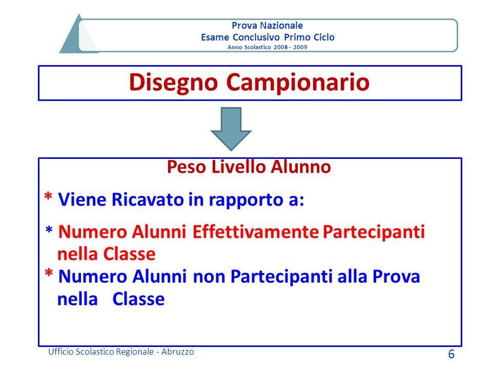 Prova Nazionale Esame Conclusivo Primo Ciclo Anno Scolastico 2008 - 2009 Disegno Campionario Ufficio Scolastico Regionale - Abruzzo 6 Peso Livello Alu