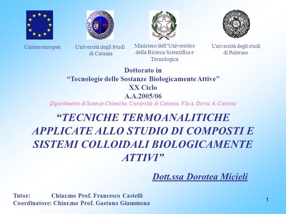 1 Ministero dellUniversità e della Ricerca Scientifica e Tecnologica Università degli studi di Palermo Unione europea Dottorato in Tecnologie delle So