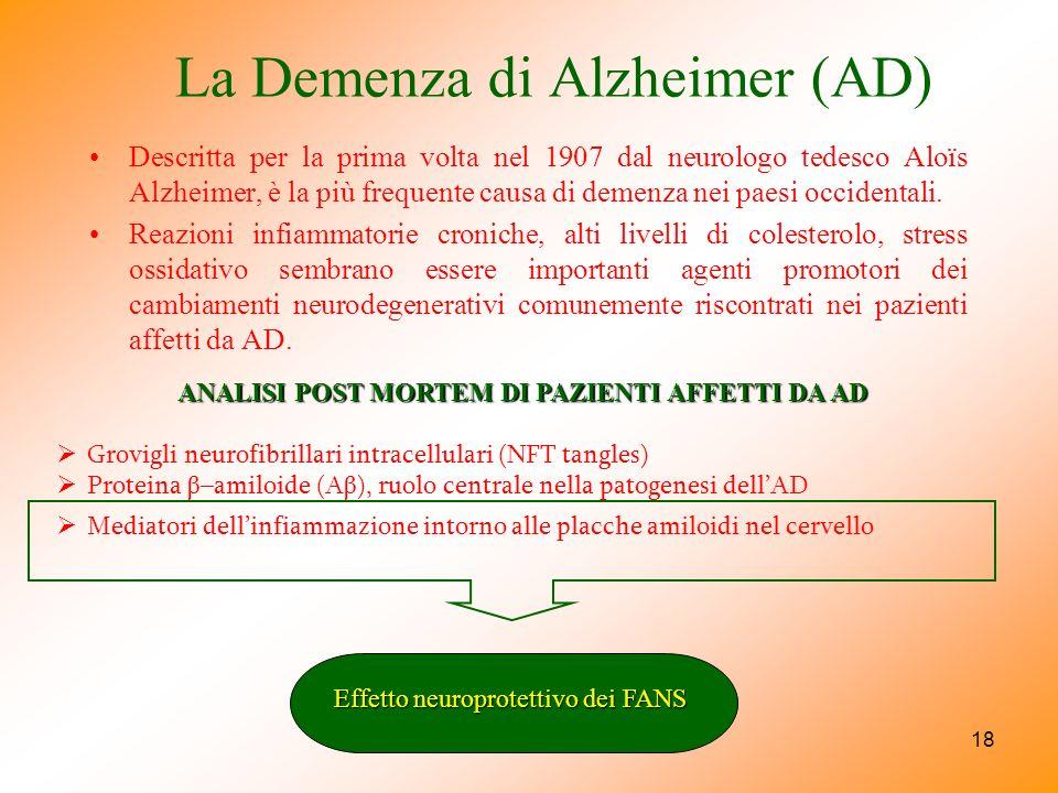 18 La Demenza di Alzheimer (AD) Descritta per la prima volta nel 1907 dal neurologo tedesco Aloïs Alzheimer, è la più frequente causa di demenza nei p