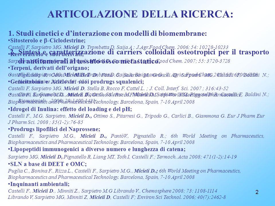2 ARTICOLAZIONE DELLA RICERCA: 1. Studi cinetici e dinterazione con modelli di biomembrane: Sitosterolo e -Ciclodestrine; Castelli F, Sarpietro MG, Mi