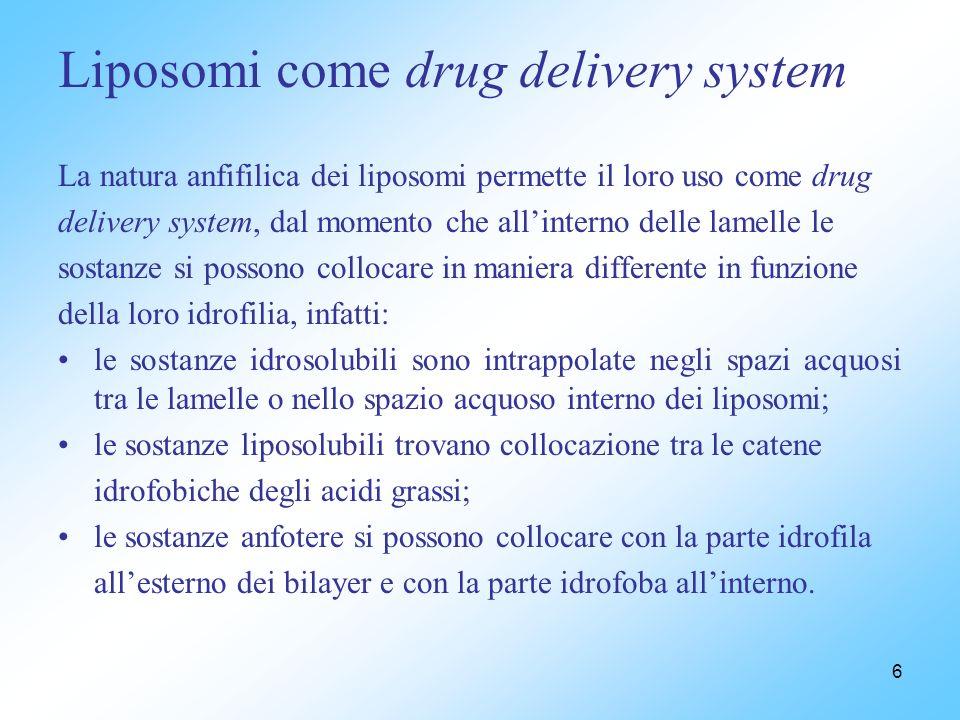 6 La natura anfifilica dei liposomi permette il loro uso come drug delivery system, dal momento che allinterno delle lamelle le sostanze si possono co
