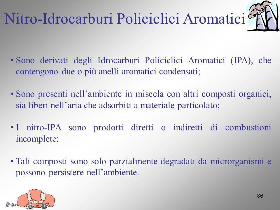 86 Sono derivati degli Idrocarburi Policiclici Aromatici (IPA), che contengono due o più anelli aromatici condensati; Sono presenti nellambiente in miscela con altri composti organici, sia liberi nellaria che adsorbiti a materiale particolato; I nitro-IPA sono prodotti diretti o indiretti di combustioni incomplete; Tali composti sono solo parzialmente degradati da microrganismi e possono persistere nellambiente.