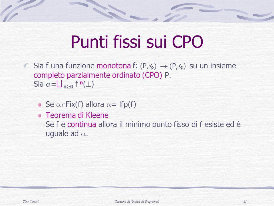 Tino CortesiTecniche di Analisi di Programmi 11 Punti fissi sui CPO Sia f una funzione monotona f: (P, P ) (P, P ) su un insieme completo parzialmente
