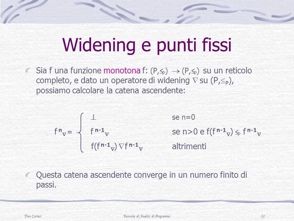 Tino CortesiTecniche di Analisi di Programmi 22 Widening e punti fissi Sia f una funzione monotona f: (P, P ) (P, P ) su un reticolo completo, e dato