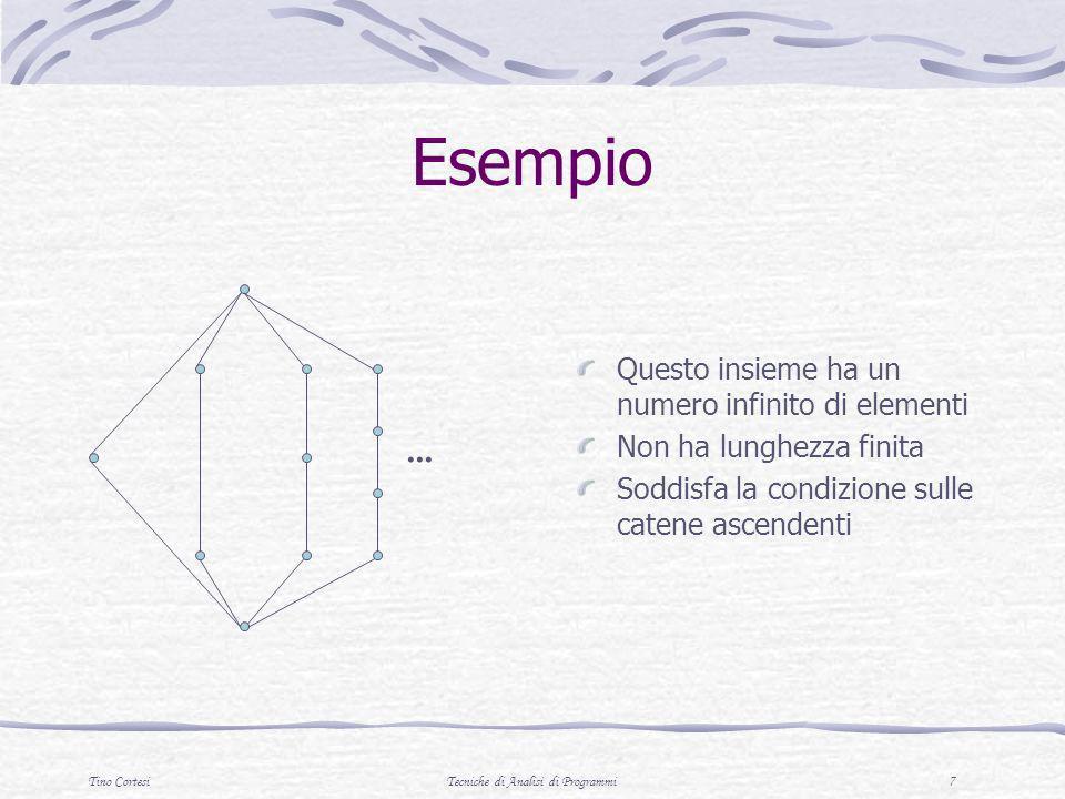 Tino CortesiTecniche di Analisi di Programmi 7 Esempio Questo insieme ha un numero infinito di elementi Non ha lunghezza finita Soddisfa la condizione