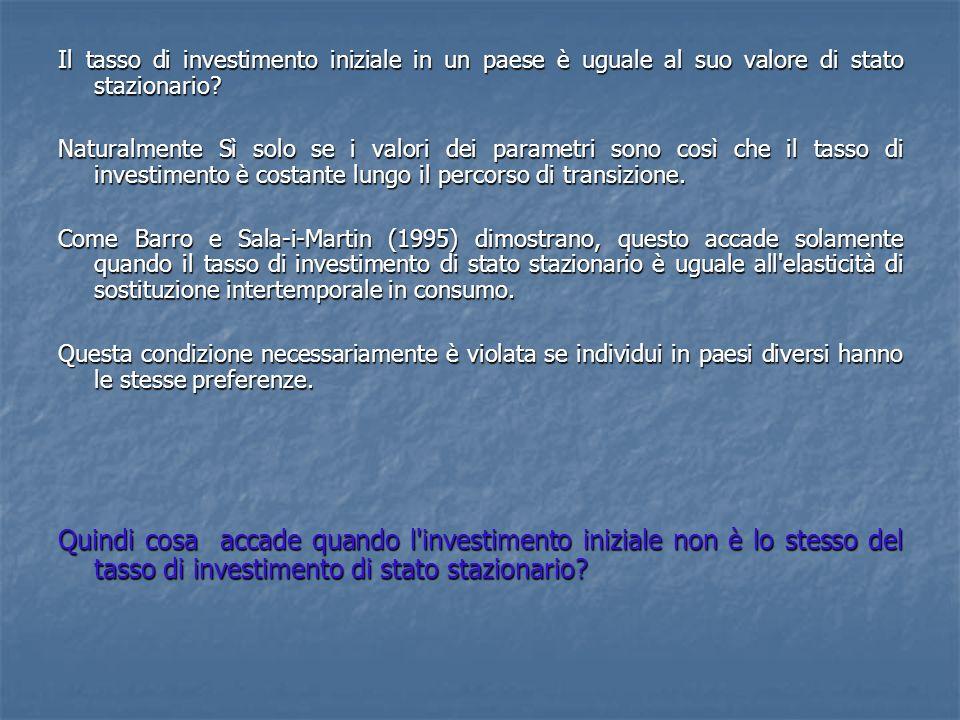 Il tasso di investimento iniziale in un paese è uguale al suo valore di stato stazionario.