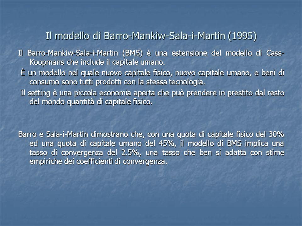 Il modello di Barro-Mankiw-Sala-i-Martin (1995) Il Barro-Mankiw-Sala-i-Martin (BMS) è una estensione del modello di Cass- Koopmans che include il capitale umano.