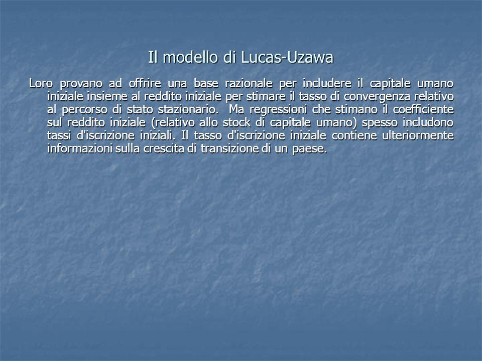 Il modello di Lucas-Uzawa Loro provano ad offrire una base razionale per includere il capitale umano iniziale insieme al reddito iniziale per stimare il tasso di convergenza relativo al percorso di stato stazionario.